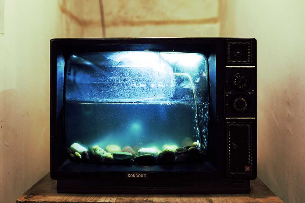 TV with fish tank in it