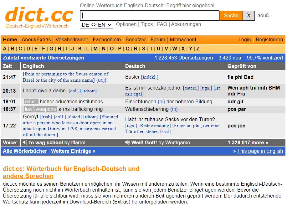 dict.cc - a German dictionary website